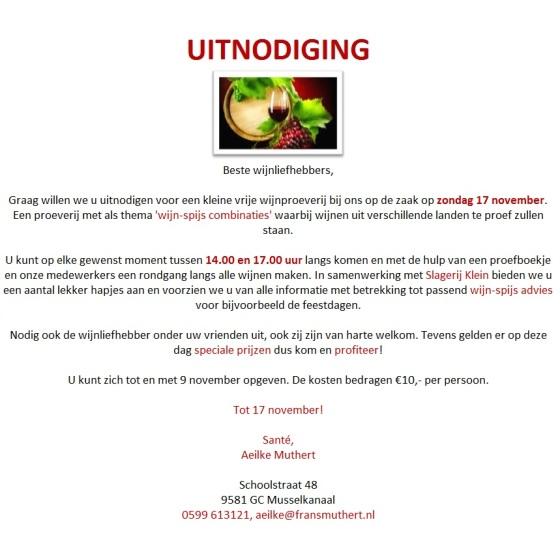 Uitnodiging Slijterij Frans Muthert Wijnproeverij 17 november