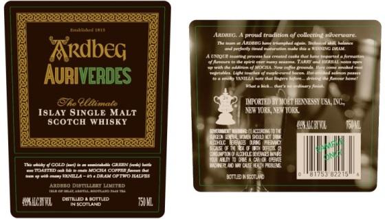 Ardbeg Auriverdes Label Back Front