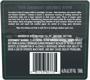 Ardbeg Dark Cove Label Back