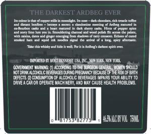 Ardbeg Dark Cove Label Back