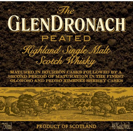 The GlenDronach Peated label