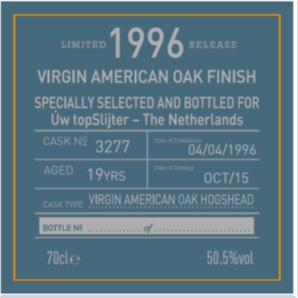 Benriach 19yo 1996 Single Cask 3277 Virgin American Oak Finish Specially Selected and Bottled for Uw topSlijter label back