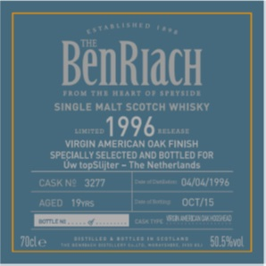 Benriach 19yo 1996 Single Cask 3277 Virgin American Oak Finish Specially Selected and Bottled for Uw topSlijter
