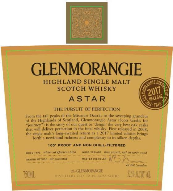 Glenmorangie Astar 2017 Front Label