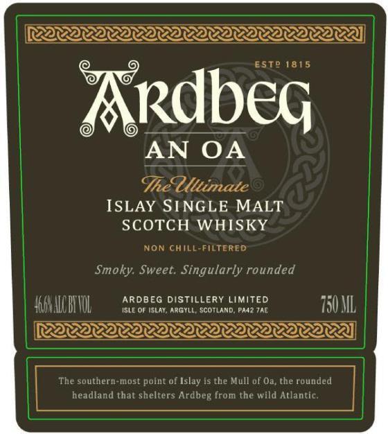 Ardbeg An Oa label